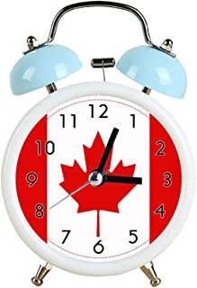 Children Cute Alarm Clock Silent Pointer Clocks Round Dual Bell Loud White and Blue Alarm Clock Bedside Night Light Home Decors Canada Maple Leaf Flag Canadian Watch