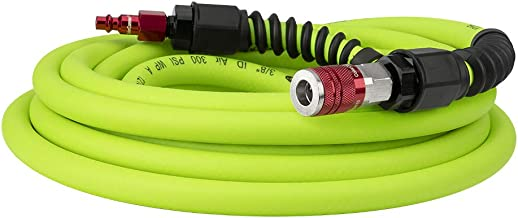 Flexzilla Pro Air Hose with ColorConnex Industrial Type D Coupler and Plug, 3/8 in. x 25 ft, Heavy Duty, Lightweight, Hybrid, ZillaGreen - HFZP3825YW2-D