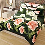 Home Candy Elegant Floral 3-D Reactive Print Double Bedsheet with 2 Pillow Covers - Multicolor...