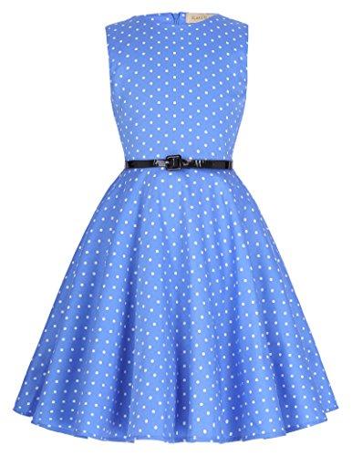 Niña Vestido Azul sin Mangas para Fiesta Cóctel 9 Años KK250-13