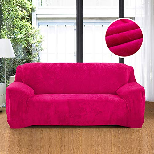 """Ultra Soft Velvet Solid Colors Armchair Sofa Slipcover, Spandex Elastic Loveseat Furniture Protection Couch Wrap, Non Slip Dustproof Covers for Living Room Fuchsia 35""""-55"""""""