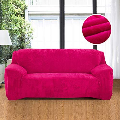 Funda protectora para sofá de terciopelo ultrasuave, colores sólidos, elastano, elástica, antipolvo, antideslizante, para salón, color fucsia 57-72 pulgadas