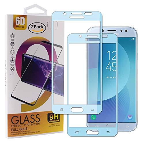 Guran [2 Paquete Protector de Pantalla para Samsung Galaxy J7 2017 J730 Smartphone Cobertura Completa Protección 9H Dureza Alta Definicion Vidrio Templado Película - Azul Cielo