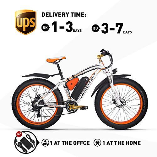 RICH BIT. Fat E-Bike Mountainbike 26-Zoll Fat Tire Herren Elektrofahrrad 1000W Beach Cruiser Ebikes 48V * 17 Ah, Starke Leistung Geeignet für jedes Gelände (mit zweitem Ladegerät)