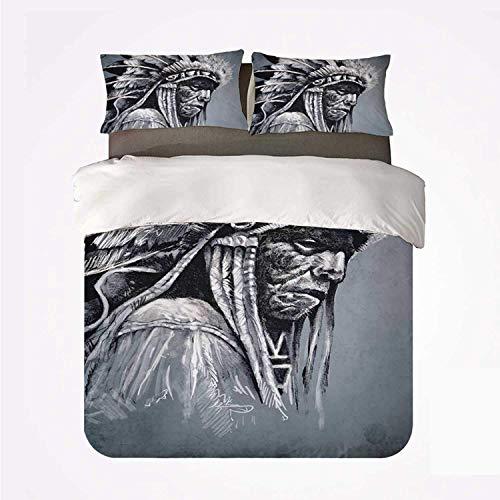 Cabeza de jefe de tribu de nativos americanos dibujados a mano con plumas Arte étnico de estilo vintage ,Juego de ropa de cama con funda nórdica de microfibra y 2 funda de almohada - 140 x 200 cm