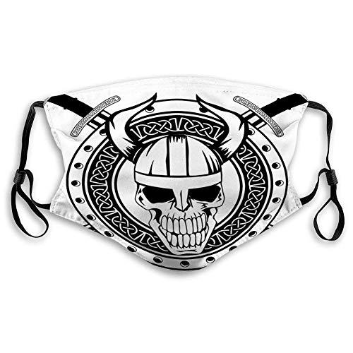 Gesichtsschutz Board of Viking mit gekreuzten Schwertern und wiederverwendbarem Schädel-Mundschutz Anti-Staub-Gesichtsschutz für Erwachsene Kinder Waschbarer -Gesichtsschal Mundschal