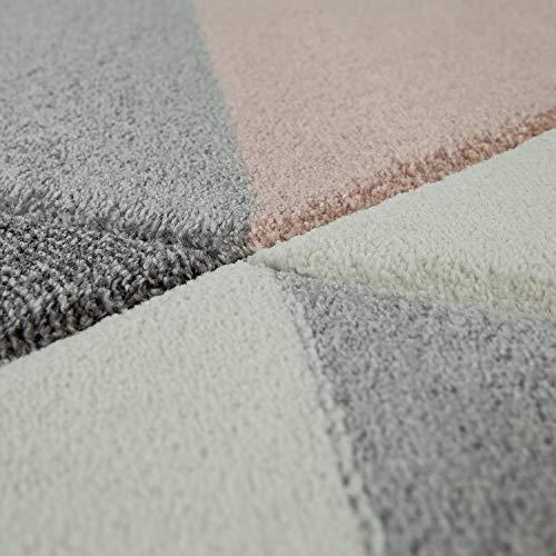 Tappeto a Pelo Corto per Il Soggiorno nei Colori Pastello del Rosa e del Grigio con Design 3D e Motivo Triangolare, Dimensione:160x230 cm