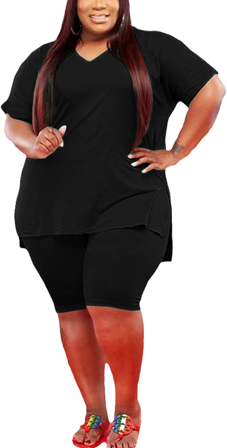 Glamaker Women's Plus Size 2 Piece Outfits Oversized V Neck Tunic Tshirt + Bodycon Biker Shorts Casual Summer Romper Joggers
