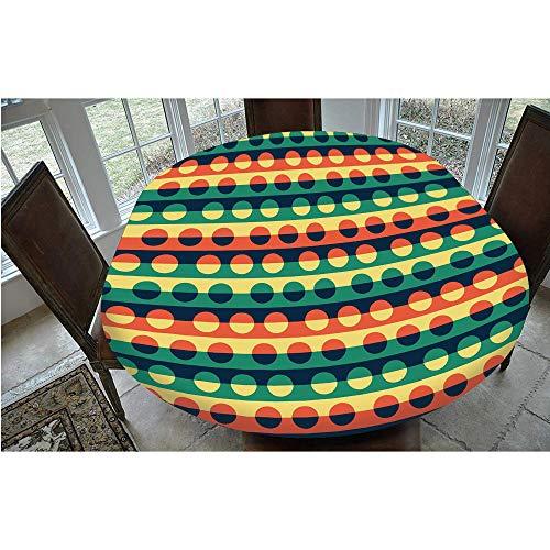 Mantel ajustable de poliéster con bordes elásticos, diseño de rayas verticales, estilo pop, para mesas ovaladas/Olbong de 61 x 122 cm, para comedor, cocina, fiesta, color naranja y verde azulado