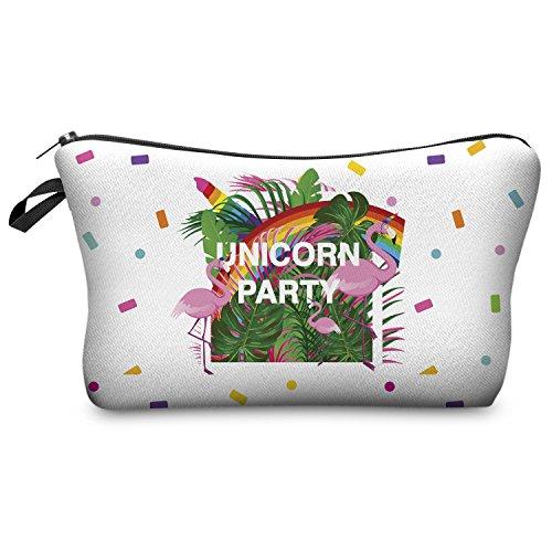 Trousse de maquillage Fringoo® pour femme - Petite trousse de toilette imprimée avec licorne - Organisateur de pinceaux à maquillage Uni Party - Make Up Bag L23 x H14 x W8 cm