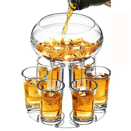 6 Shot Glass Dispenser and Holder, Beverage Dispenser with 6 pcs Cup, Shot Buddy Dispenser for Filling Liquids, Bar Shot Dispenser, Cocktail Dispenser for Parties