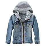 Kids Boy's Hooded Denim Jacket Cowboy Hoodies Zipper Outwear Trucker Jacket Stylish Fashion Trendy Coat