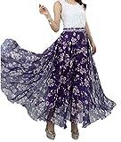 Afibi Women Full/Ankle Length Blending Maxi Chiffon Long Skirt Beach Skirt (X-Large, Design T)