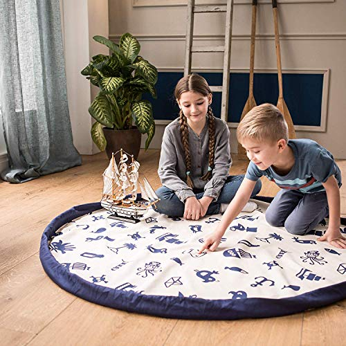 snugo Saco de juguete, juego y limpieza en uno, de algodón bioorgánico, alfombra para gatear, alfombra de juego (piratas/piratas), fabricado en Alemania/Augsburgo