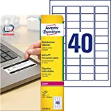Avery España L6145-20 - Pack de 20 folios de etiquetas no despegables, 45.7 x 25.4 mm, color blanco