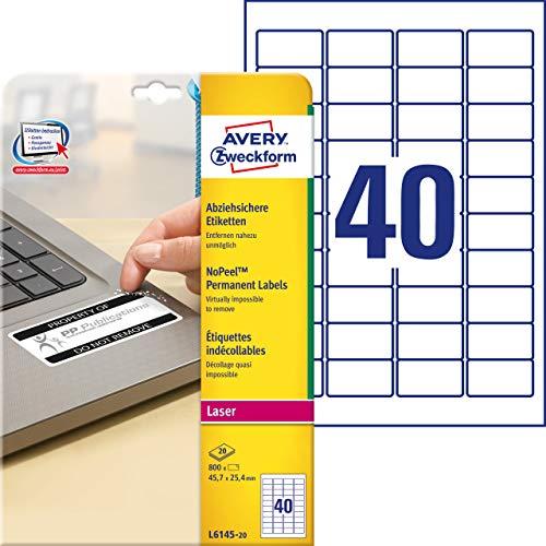 AVERY Zweckform L6145-20 Abziehsichere Folienetiketten (45,7x25,4 mm auf DIN A4, extrem stark selbstklebend, manipulationssicher, bedruckbare Klebefolie) 800 Aufkleber auf 20 Blatt weiß