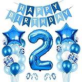 2er Cumpleaños Bebe Globos Decoracion, Globos Numeros 2 Decoracion, 2 año Cumpleaños Decoración Niño, Globos de Confeti de Latex Boy Ballon Party Cumpleaños 2 Año