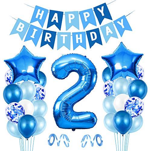 O-Kinee 2 Compleanno Decorazioni, Palloncino Numero 2, Festa Compleanno Decorazioni Ragazzo, Palloncino Festa Boy, Palloncini in Lattice, per Compleanno Battesimo Festa Comunione Baby Shower