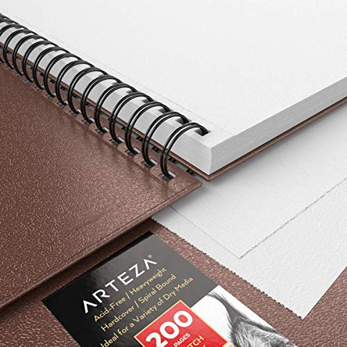 Arteza Sketch Book, 9x12-inch, 2-Pack, Brown Drawing Pad, 200 Sheets Total, 68 lb 100 GSM, Hardcover Sketchbook, Spiral-Bound, Use with Pencils, Charcoal, Pens, Crayons & Other Dry Media