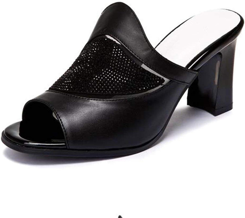 MUMA Pumps High Heeled Fish Head Sandals shoes Summer New Black White Europe and America Mesh Hollow Water Drill Rough Heel Sandals Female (color  Black, Green  EU36   UK3.5   CN35)