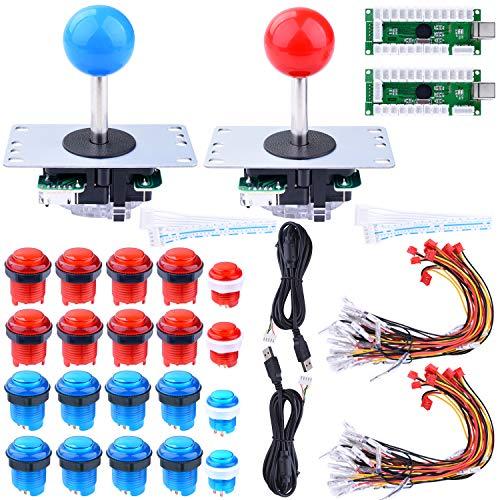 Longruner Arcade Joystick for Raspberry Pi 3 2 Model B Retropie LED DIY Parts 2X Zero Delay USB Encoder + 2X 8 Way  + 20x LED Geïllustreerde Push Buttons for Mame Jamma Arcade Project Red + Blue LR01