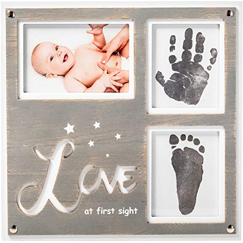 "1Dino Newborn Baby Handprint and Footprint Picture Frame Kit - Special Cut 12.6"" x 12.2"" White/Grey Wood Frame, Clean-Touch Ink Pad Included, Safe for Baby - Baby's Prints, A Perfect Baby Shower Gift"