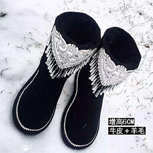 AGECC Femmes Les Les Les dames Hiver Cloche Hiver AugHommestée Neige Bottes Chaussures à Tassel Bonne Chance pour Vous