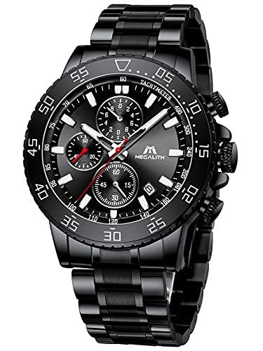 MEGALITH Reloj Hombre Cronografo Acero Inoxidable Reloj de Pulsera Esfera Grande Analógico Relojes Impermeable Luminoso Fecha