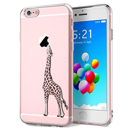Yokata Cover per iPhone 6 Plus / 6S Plus, Custodia Silicone Gel TPU Trasparente con Disegni Cover Morbida Ultra Sottile Slim Antiurto Protettiva Case Cover - Giraffa