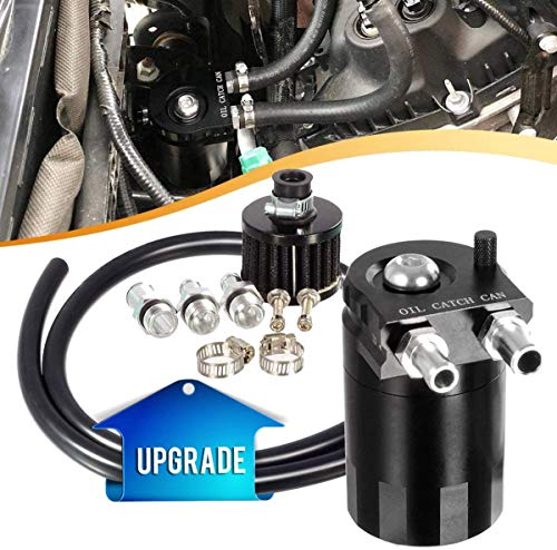 Vincos Universal 3/8'&9/16' 400ml Aluminum Oil Catch Can Dual Cylinder Polish Baffled Engine Air Oil Separator Tank Reservoir Kit with Breather Black Small Drain