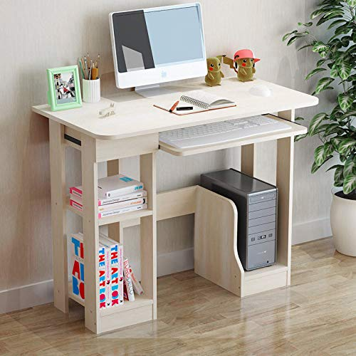 Computer Desk, Study Writing Table for Home Office, Modern Simple Style Desktop Computer Desk with Storage Shelves and Pullout Keyboard Tray, Compact Laptop PC Workstation (Beige, 35.4×18.9×28.3in)