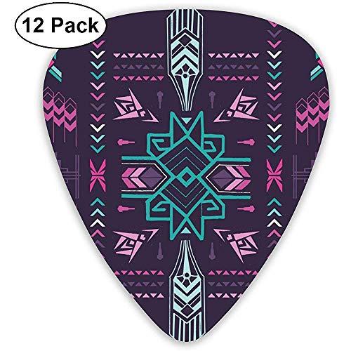 Gitarren Plektren Vintage Aztec Custom Abs Gitarren Plektren für Bass,Elektro und Akustikgitarren-12 Pack