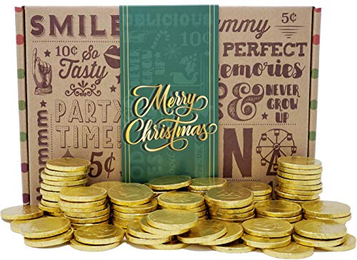 Vintage Candy Chocolate Gold Coins Box - The BEST Christmas Money Gag Gift Frankford Milk Chocolate Candy Coins - PERFECT Funny Surprise Xmas Gift For Girls Boys Kids Adults Man Woman College Student