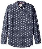 Marca Amazon - Goodthreads - Camisa de popelín con manga larga, corte ajustado y diseño estampado para hombre, Azul (blue heather Florette print), US S (EU S)