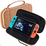 GOMDA Switch Carry Case for Nintendo Games-With 20 Games Cartridges Support Bracket-Protective Hard Shell Travel Pouch for Nintendo Switch Console & Accessories,Cork Wood