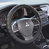 BDK Genuine Leather Ergonomic Non-Slip Grip Car Steering Wheel Cover Standard Size 14.5 to 15.5'