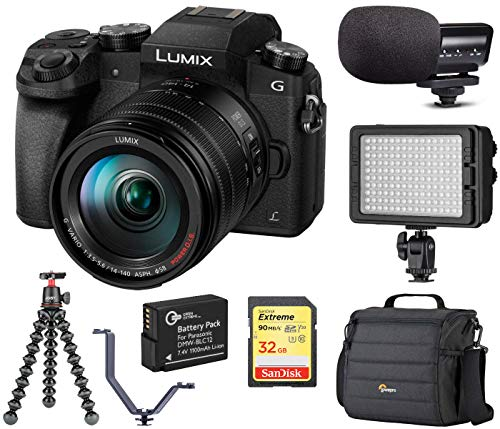Panasonic LUMIX G7 4K Mirrorless Digital Camera Black with 14-140mm Lens, 16 Megapixel, Bundle with Marantz Microphone, LED Light, Joby GorillaPod 3K Kit, Battery, Bag, 32GB SD Card, 3 Shoe V-Bracket