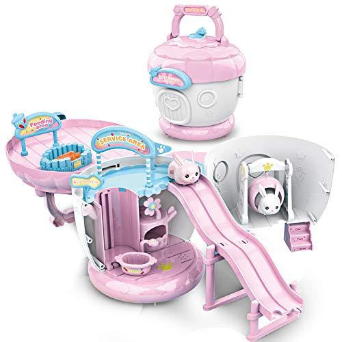 ZhanXiang Tannenzapfen Hausspielzeug Sets,Hase Playground Slide pielzeug Spielen Sie mit Zubehör,Tolles Geschenk für Kleinkinder 2 3 4 5 6 Jahre altes Mädchen/Junge (Rosa)