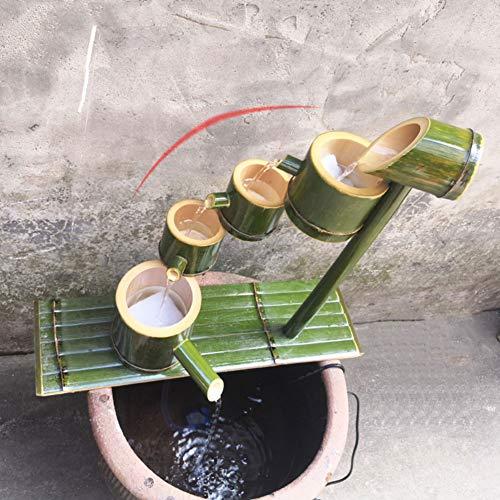 LYCIL Wasserfall Wasserspiel,Handgefertigt Bambus Brunnen Outdoor Japanisch Garten Feature Modernen Dekoration Landschaft Wasserdurchflussgerät Statuen A 40cm(16in)