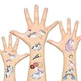 Temporary Tattoos for Kids Unicorn Tattoos Non-Toxic Cartoon Theme Fake Tattoos Stickers for Children Boys Girls Birthday Party Favors Supplies