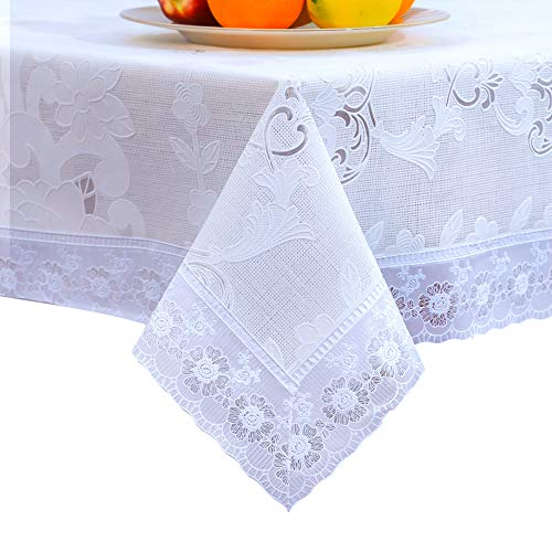 DITAO White Waterproof Vinyl Lace Tablecloth Square Easy Wipe Table Cloth for Party Wedding, 59 x 59 inch