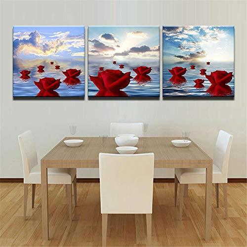 WSNDG Triple inkjet rose bloemen huisdecoratie schilderij zonder fotolijst 30x30cmx3 J2