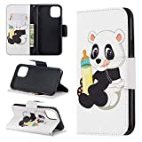 Yesun K Bright Inner and Outer Layer 3D Painted iPhone 11 Pro X XR Xs Max 7/8 Plus Flip Magnetic Suction Card Slot Leather Case Wallet Phone Case, iphone X / XS, Babyflasche Panda