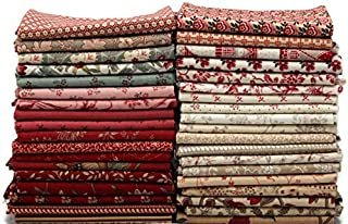 Field's Fabrics 10 Fat Quarters - Assorted Moda French General France Calico Floral Flowers Red Pink Blue Cream Classic Reproduction Quality Quilters Cotton Fat Quarter Bundle M229.01