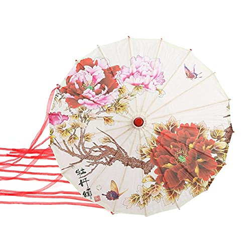 Buachois Paraguas de Papel de Aceite de Actuación de Danza Antigua Hecho a Mano, Paraguas de Serpentina de Juego de Roles para Fotografía, Decoración de Interiores para Banquetes de Boda(#1)