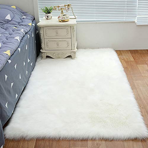 FUNME Faux Sheepskin Rug Soft Shaggy Wool Carpet for Bedroom Home and Kids Room Decor (2ft x 4ft Rectangle, White)