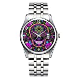 Unique Watch, Watch Silver Stainless Steel Band Watch for Men Ladies Cute Watches for Couples Kids Boys & Girls Personalized Classic Fashion Watch 412.Sugar Skull Neon Pink