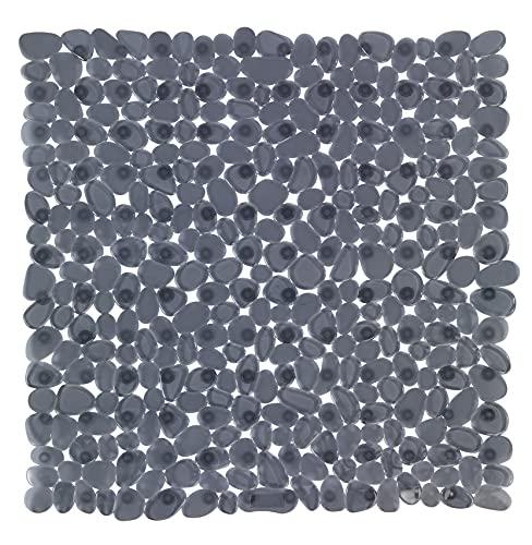 WENKO Duscheinlage Paradise Anthrazit - Antirutsch-Duschmatte mit Saugnäpfen, Polyvinylchlorid, 54 x 54 cm, Anthrazit