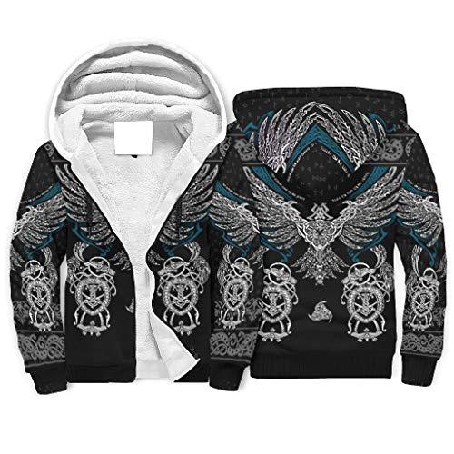 Bannihorse Sudadera con capucha para hombre y mujer, diseño de águilas vikingas, hip-hop, con cordón, estrecha, color blanco, talla 2XL