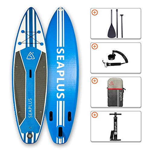 "SEAPLUS Tabla de Paddle Surf Hinchable Tabla Stand Up Paddle Board Rígida Doble Capa con Accesorios de Remo de Aluminio/Inflador/Leash/Mochila, Carga hasta 140 Kg, L-BC 10'6""*32""*6"""